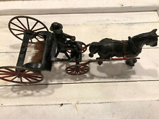 1890's CAST IRON HORSE DRAWN Street Sweeper By WILKINS TOY COMPANY Very Rare.