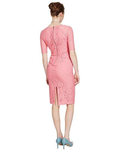 New M/&S Per Una Speziale Pink Lace Floral Dress Sz UK 12 /& 14