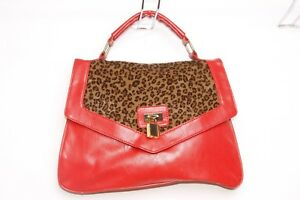 Press Leopard Lock amp; Elegant Stud Pattern mujer Lock Red Handbag Gold s293 With wwzOqZ