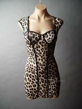 LEOPARD Print 50s Pin Up Bombshell Hourglass Wiggle Bustier Bodycon Mini Dress M