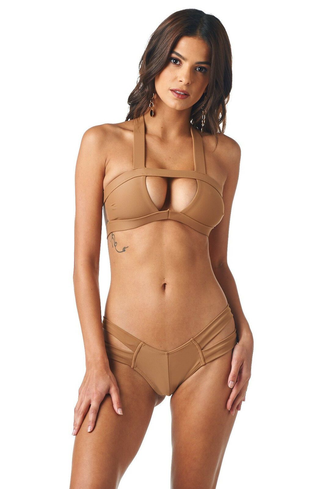 Sexy Cut Out Montce Bikini Swimsuit in Cappuccino Tan Brown Taupe - Size Medium