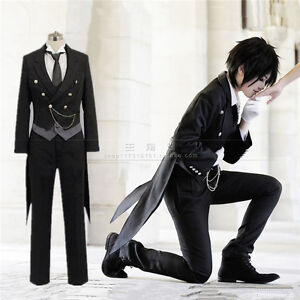Black-Butler-Kuroshitsuji-Sebastian-Michaelis-Cosplay-Costume-Queue-Perruque-Tattoo