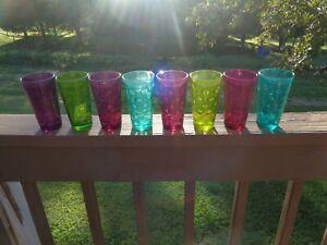 Set-Of-8-Colored-Pasabahce-6-034-Tumbler-Glasses-Thumbprint-Bubble-NICE