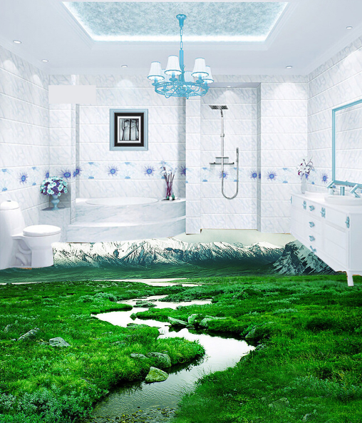 3D Prairie River Hill 77 Floor WallPaper Murals Wall Print Decal AJ WALLPAPER US