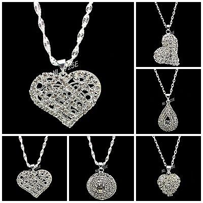 "Krachtig Uk New Silver Plated Rhinestone Pendant Necklaces 18""(44cm ) Or 22"" ( 58cm ) Verpakking Van Genomineerd Merk"