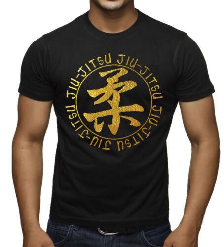 Men/'s Gold Foil Circle Jiu Jitsu Shirt Muscle Beast Gym Workout MMA Fighter Tee