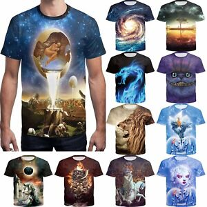 Men-3D-Printed-Beauty-Beast-Funny-T-shirts-Short-Sleeve-slim-Tee-Casual-Tops