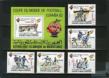 MAURITANIA 1982 SOCCER WORLD CUP SPAIN SET OF 5 STAMPS & S/S OVERPRIN.MNH