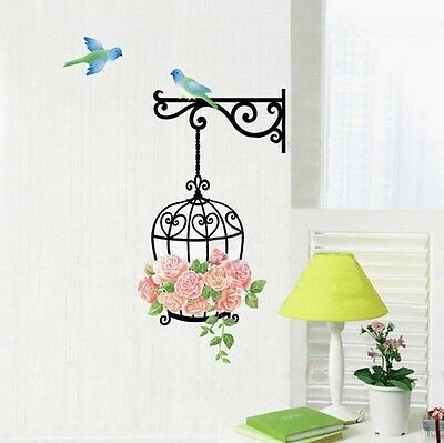 Bird Cage Rose Flower Blue Bird Wall Decal Sticker Home Decor Vinyl Removeable