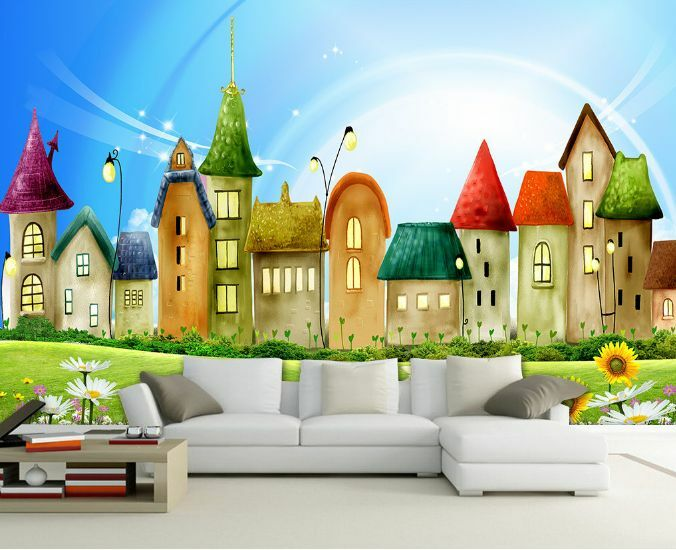 3D Grassland Farbe House Paper Wall Print Decal Wall Wall Murals AJ WALLPAPER GB