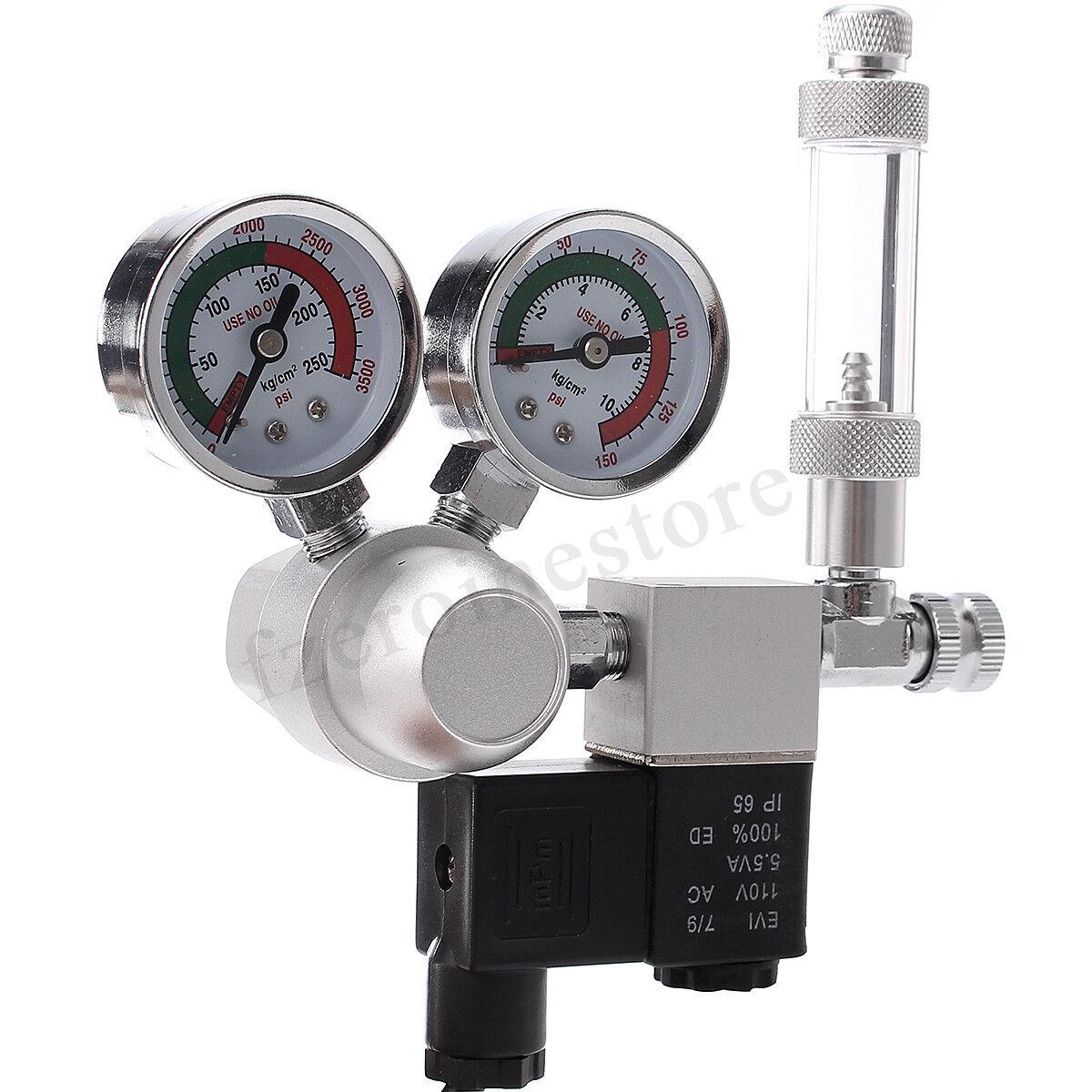 Aquarium CO2 Pressure Regulator System Magnetic Solenoid Bubble Counter  NEW
