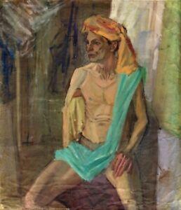 Russischer-Realist-Expressionist-Ol-Leinwand-034-Sitzender-mit-Turban-034-80-x-70-cm