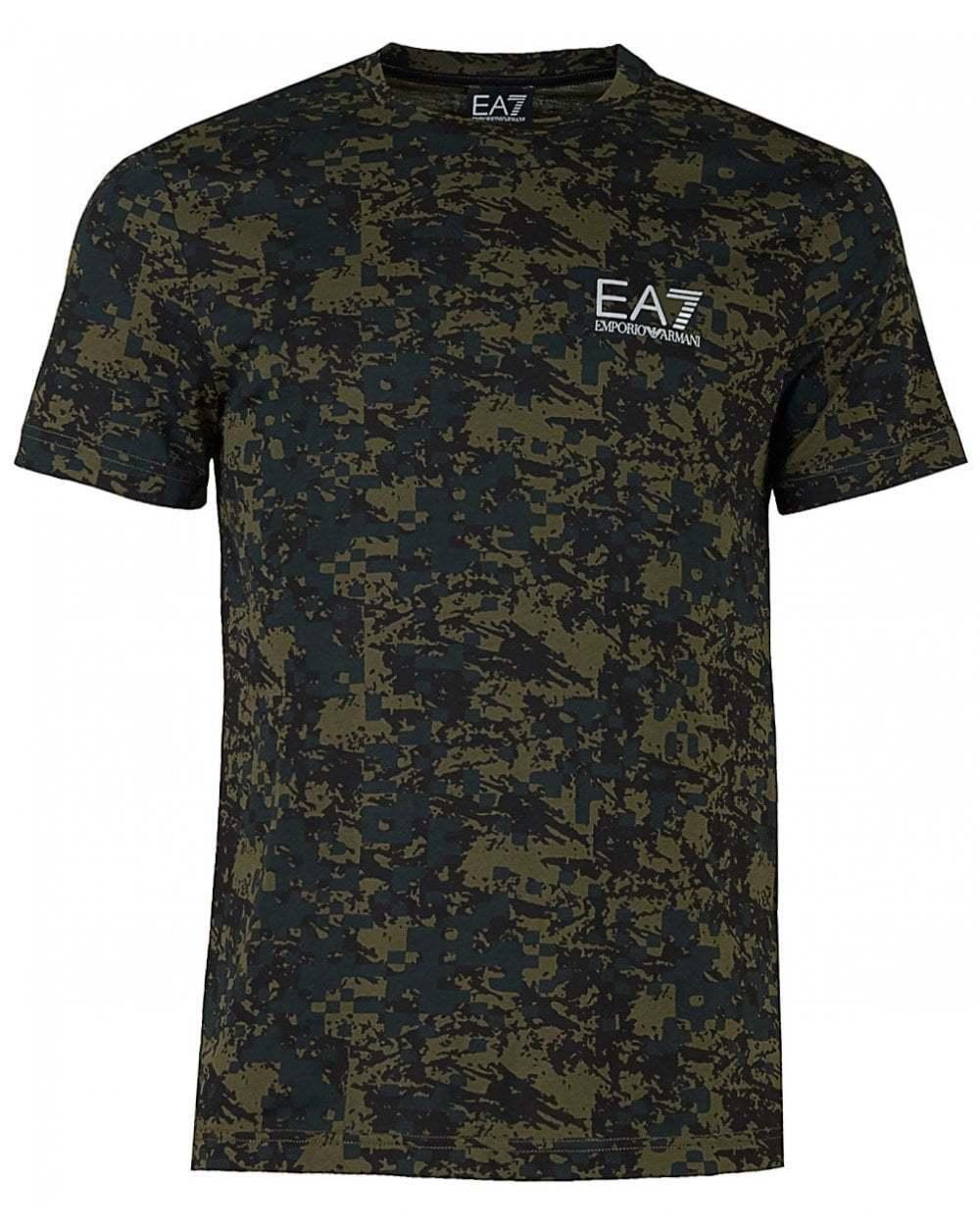 Hombre Hombre Hombre gris Ea7 tren Gráfico Pima todo camuflaje T-Shirt 319478