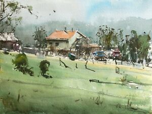 Landscape-Painting-Watercolor-Original-Moravia-Countryside-House-Nature-12x9