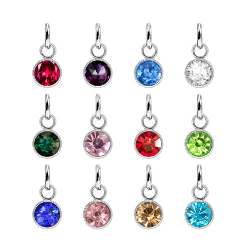 12pcs Stainless Steel 6mm Birthstone 12 Months Hang Pendant Charms For Necklace