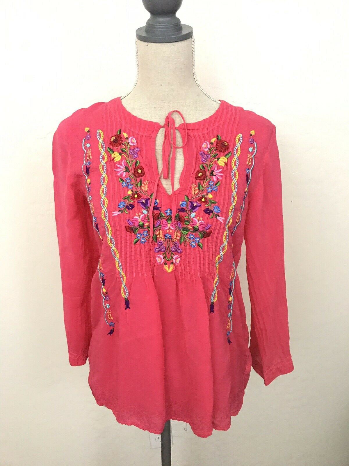 Johnny Was Bright Rosa Embroiderot Floral Peasant Blouse Sz XS