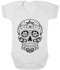 253d71c2502e SUGAR SKULL - WHITE BABY GROWS Cute Gift Sleepsuit Baby Grow Romper ...