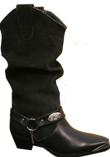 Ladies Black Genuine Leather /& Suede Western Rodeo Cowboy Cowgirl Boots