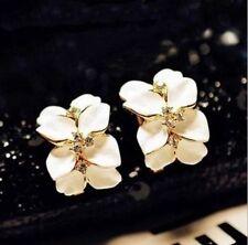 1 Pair Women Gardenia Flower Crystal Ear Stud Rhinestone Earring Ear Hoop Buckle
