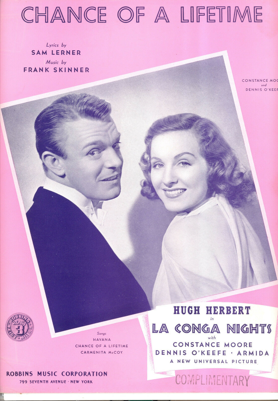 LA CONGA NIGHTS SheetMusic  Chance Of A Lifetime  Constance Moore Dennis O'Keefe