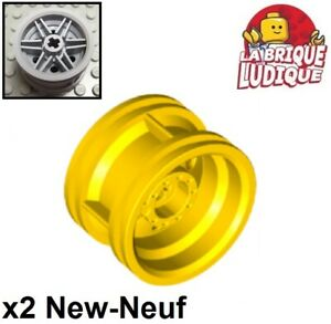 Lego-2x-roue-jante-wheel-30-4-mm-D-x-20-reinforced-jaune-yellow-56145-NEUF