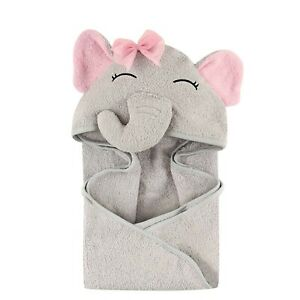 Hudson Baby 3D Animal Face Hooded Towel for Girls - Pretty Elephant 1-Pack