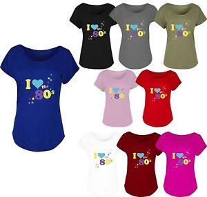 Femmes-I-Love-les-annees-80-T-Shirt-Retro-Pop-Star-Femmes-poule-Fancy-Party-Top-T-Shirt