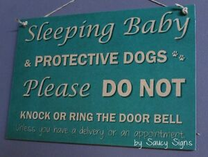 Sleeping-Baby-Protective-Dogs-Do-Not-Knock-Doorbell-Rustic-Wooden-Warning-Sign2