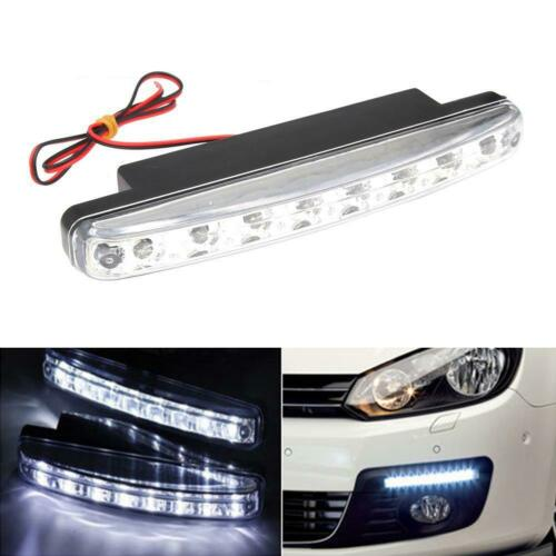 Car Light 8LED DRL Fog Driving Daylight Daytime Running LED White Head Lamp EV
