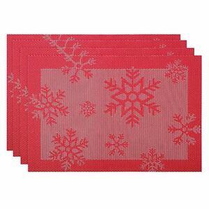 Juego-de-4-Manteles-Individuales-Sala-Comedor-Grande-Navidad-Jacquard-Salvamantel-Rojo-Copo-De-Nieve