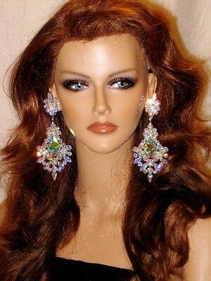HUGE AB Chandelier Rhinestone EARRINGS Drag Queen XXL-11-AB/S Swarovski Crystal