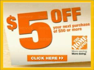 Two~2x~ Home Depot Coupon $5 OFF $50 In-Store-Only ~~ lNSTANT~FAST~S