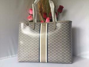 692f90109 AUTH NWT Tory Burch French Grey Gemini Link Coated Canvas Tote ...