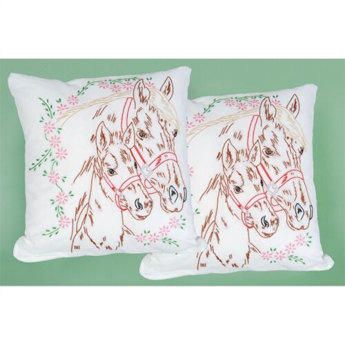 """Jack Dempsey Stamped White Pillowtops 15/""""x15/"""" 2//pkg-mare /& Colt"""