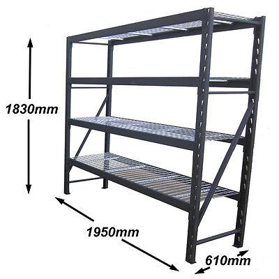 Steel Storage Shelving Mesh Shelves Warehouse Garage 1000kg Heavy Duty 1.95M