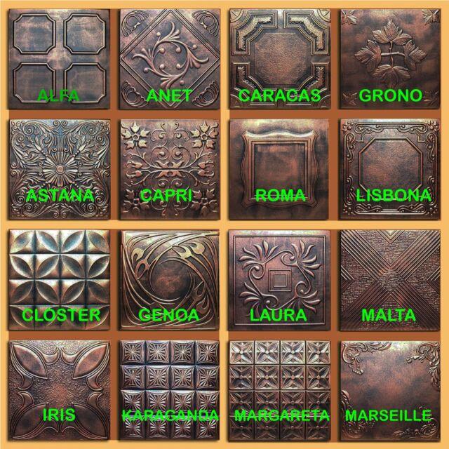 Lot of 50pc Ceiling Tile - 20x20 16 Different Design Copper/Black Styrofoam