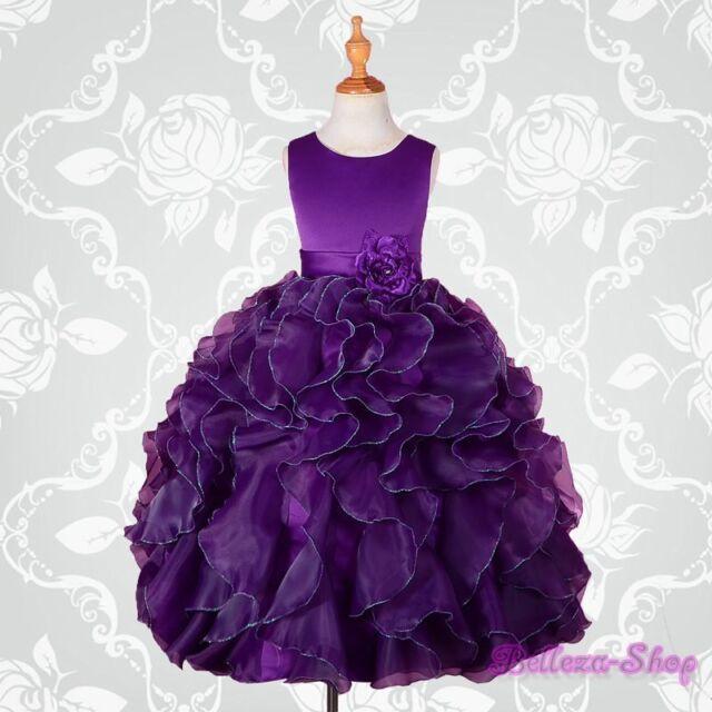 Dark Purple Satin Organza Dress Wedding Flower Pageant Party Size 4 Fg234