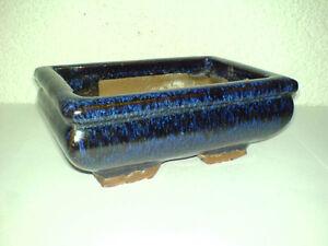 Bonsaischale-Bonsai-Schale-Blau-Eckig-14-x-9-3-x-5-5-cm-Keramik-Pottery-LOOK