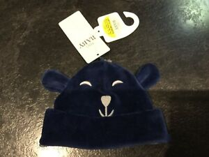 M/&S Baby teddy hat and mitten set cream mix with wool size up to 1 month BNWT