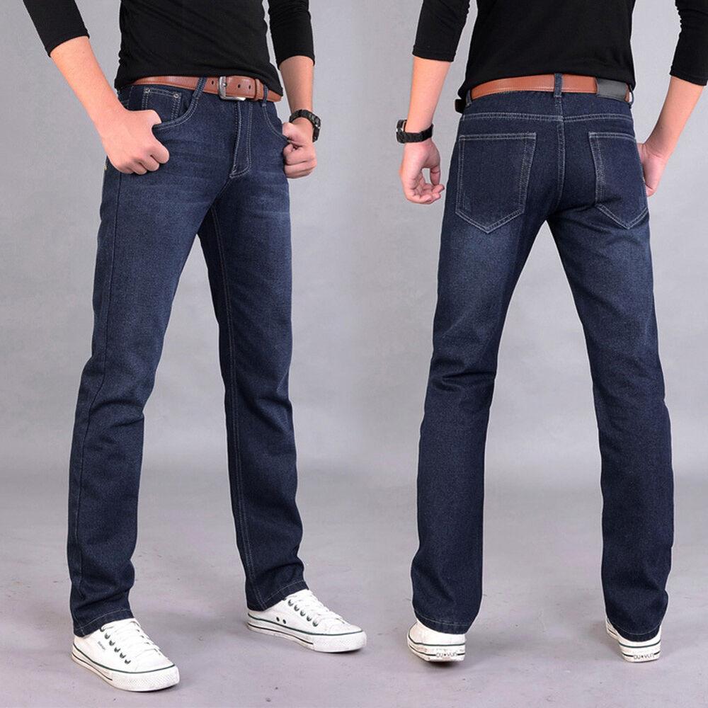 HK- Men's Mid-Rise Denim Jeans Straight Fit Designer Stylish Trousers Pants Surp Clothing, Shoes & Accessories