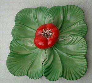 Vintage 1940's Brad Keeler Pottery #889 Tomato Lettuce 4 Leaf Serving Plate Dish