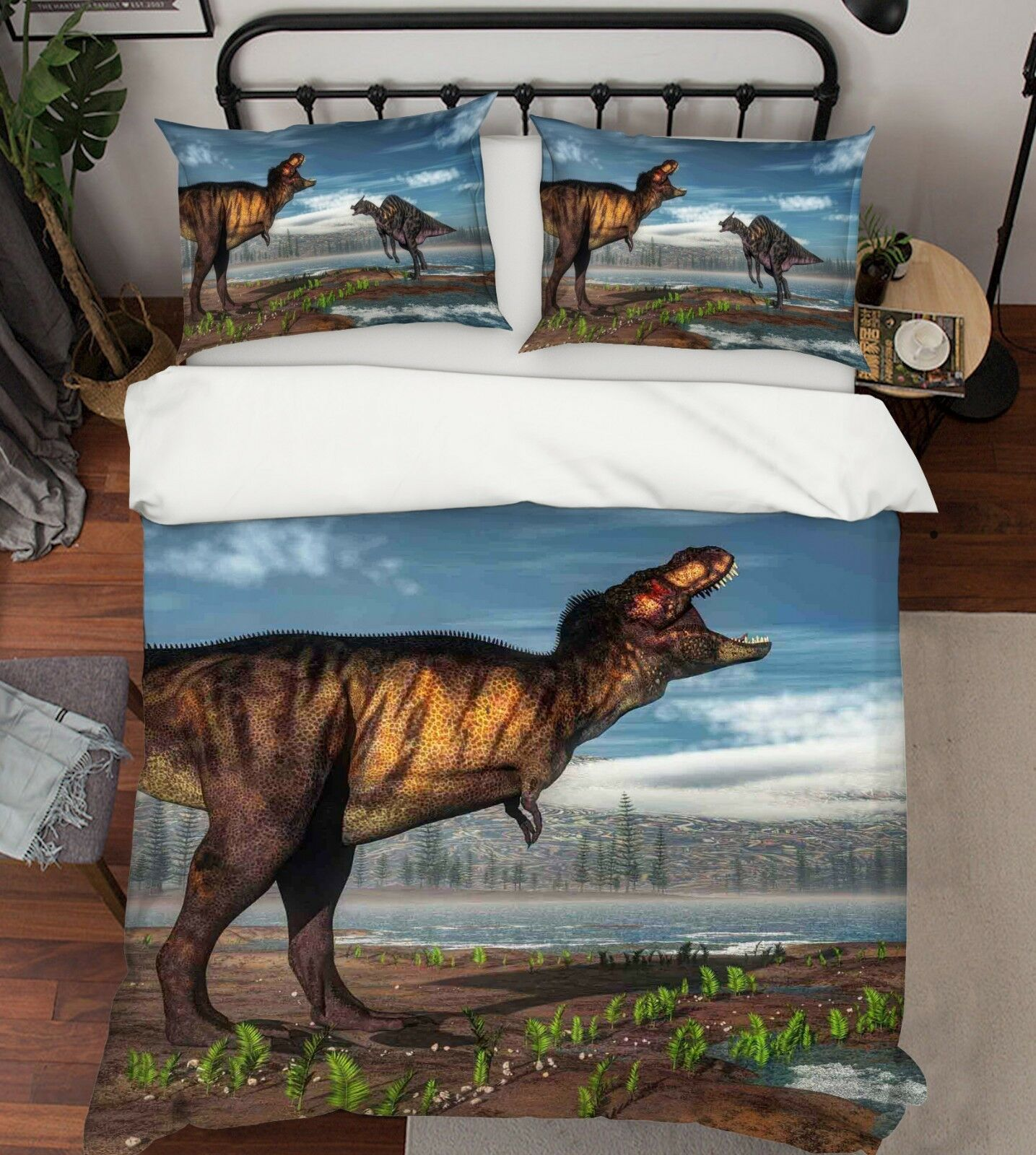 3D Ozean Land Dinosaurier 4 Bett Kissenbezüge steppen Duvet Decken Set Single DE