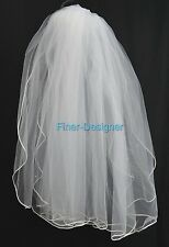 Bridal veil Communion Pearls Wedding White tulle netting fingertip comb veil S M