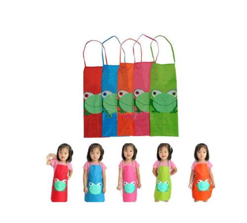 Hot Cartoon Frog Pattern Kids Children Waterproof Painting Eating Apron Outwear