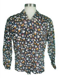 Ernest Le Gamin VTG 80s Herren Schwarz Disney Charaktere Viskose Loop Kragen Shirt M
