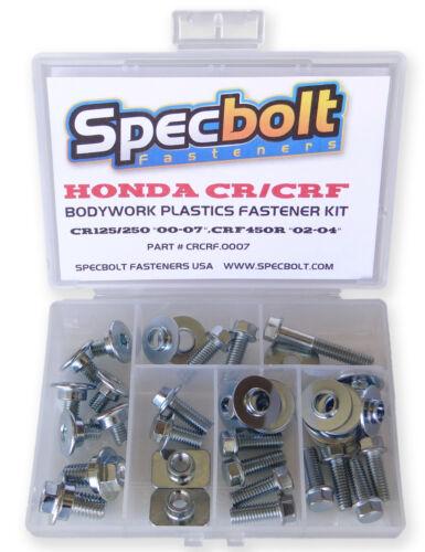 #0007 Honda CR CRF Body /& Plastics Bolt Kit CR125 CR250 /& 00-07 CRF450R 02-04