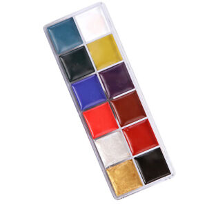Details About 12 Colors Oil Based Face Body Art Paint Palette For Halloween Party Makeup