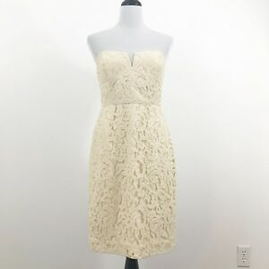 J-CREW-Cathleen-Dress-Leavers-Lace-Size-10-Champagne-02846-Strapless-Bridesmaid