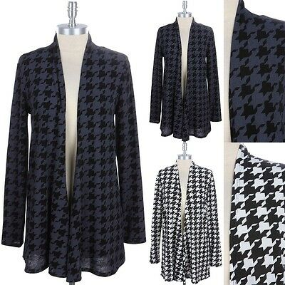 Houndstooth Open Front Draped Cardigan Long Sleeve Casual Easy Wear Rayon S M L