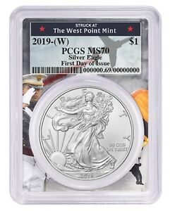2019-1oz-Silver-Eagle-PCGS-MS70-First-Day-Issue-West-Point-Frame